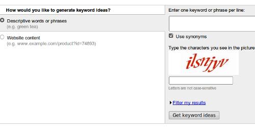 Google Adwords Keywords Tool
