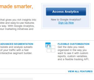 Google Analytics Access Screen
