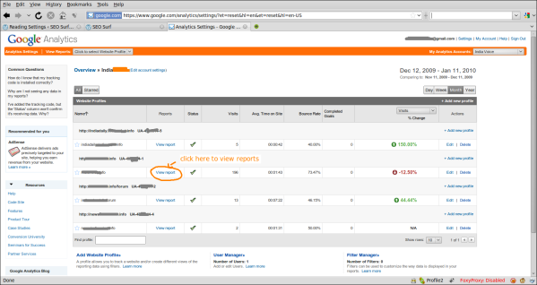 Screenshot Analytics Settings - Google Analytics