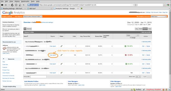 Screenshot Analytics Settings - Google Analytics