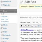 Wordpress Upgrade Button on Dashboard