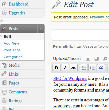Wordpress Upgrade Button on Dashboard